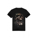 Cotton 3D Skull Printed Short Sleeve Round Neck Fashion Loose Tee
