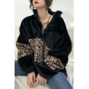 Fashionable Long Sleeve Stand Collar Colorblock Leopard Printed Tunics Oversize Zip Sweatshirt