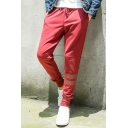 Burgundy Drawstring Waist Striped Pattern Men's Jogger Pants