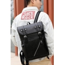 Fancy Black Plain Strap Closure PU Backpack Bag