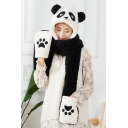 Cartoon Panda Claw Printed Colorblock Warm Plush Earflap Hat Scarf Mittens Gloves Set