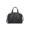 Fashion Dull Polish Geometric Pattern Fold Black Handbag