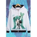 Long Sleeve Cartoon Character Printed Zip Closure White Leisure Hoodie