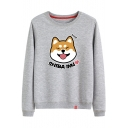 Round Neck Long Sleeve Cartoon Dog Letter Printed Casual Sweatshirt