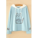 Cute Cat Kitty Fish Print Contrast Hood Long Sleeves Pullover Hoodie