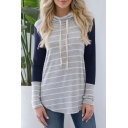 Colorblock Stripes Long Sleeve Cowl Neck Fitted Tee