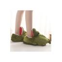 Green Crocodile Design Leisure Warm Home Cute Cotton Slippers