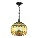 Victorian Tiffany Orb Drop Light Stained Glass 1 Bulb Suspension Light in Multi Color