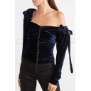 Dark Blue Velvet Plain One Shoulder Long Sleeve Bow Button Embellished Blouse