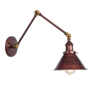 Adjustable Cone Wall Sconce Retro Style Metal 1 Light Wall Light in Rust for Study Room