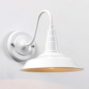 Vintage Barn Wall Mount Fixture Metal 1 Light Sconce Light in White with Gooseneck