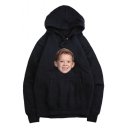 Unisex Long Sleeve Kangaroo Pocket Boy Fake Laugh Pattern Casual Hoodie