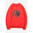 Game of Thrones Series Pattern Long Sleeve Round Neck Relaxed Sweatshirt