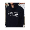Black Street Style Long Sleeve Letter GOOD VIBES Printed Black Oversize Hoodie