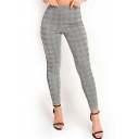 Fashion Side Striped Classic Houndstooth Printed High-Rise Gray Skinny Pants