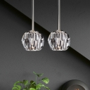 Crystal 1 Light Pendant Lamp in Antique Brass/Chrome/Black Finish Post Modern Style Suspension Light