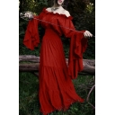 Vintage Midieval Costume Off the Shoulder Bell Sleeve Floor Length A-Line Dress
