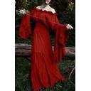 Vintage Midieval Costume Off the Shoulder Bell Sleeve Floor Length A-Line Dress