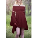 Hot Fashion Off The Shoulder Bell Sleeve Cut Out Detail Solid Mini A-Line Asymmetric Dress