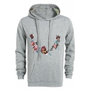 Men's Autumn Trendy Floral Embroidered Long Sleeve Slim Fitted Hoodie
