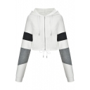 Colorblock Long Sleeve Drawstring Hem Zipper Placket Hooded White Cropped Coat
