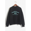 4 Chic Long Sleeve Mock Neck Letter HIGH Printed Sweatshirt