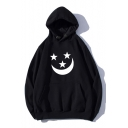 Moon Star Printed Long Sleeve Leisure Unisex Hoodie
