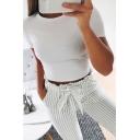 Hot Fashion Round Neck Short Sleeve Basic Solid Cropped Slim T-Shirt