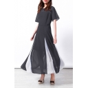Hot Fashion Round Neck Short Sleeve Two-Tone Hem Maxi A-Line Chiffon Dress