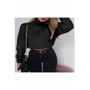 Leisure Long Sleeve High Neck Cable Knit Plain Cropped Sweater