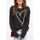New Trendy Heart Pattern Round Neck Long Sleeve Pullover Loose Sweatshirt