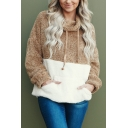 New Trendy Colorblock Cowl Neck Long Sleeve Loose Coffee Fleece Hoodie