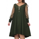 Popular Sheer Long Sleeve V Neck Plain Midi Swing Dress