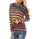 Autumn's New Arrival Long Sleeve Colorful Stripes Tunics Blue Hoodie