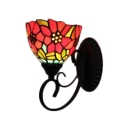 Flower Design Accent Wall Lamp Tiffany Style Stained Glass Wall Sconce in Multicolor