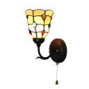 Pull Chain Bowl Accent Wall Sconce Tiffany Style Stained Glass Wall Lamp for Corridor
