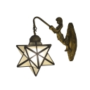 Star Shade Wall Sconce Tiffany Style Frosted Glass Wall Lamp in White for Study Room