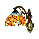 Sunflower Wall Lamp Tiffany Style Stained Glass Wall Sconce in Multicolor for Staircase