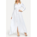 Boho Style Long Sleeve Lapel Collar Plain Split Front Tie Waist Cotton White Maxi Dress