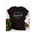 Heart Letter CHRISTMAS Printed Short Sleeve Round Neck Black Tee