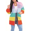 Trendy Rainbow Striped Print Long Sleeve Open Front Cardigan with Pockets