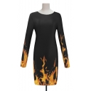 Unique Fire Pattern Round Neck Long Sleeve Mini Sheath Dress