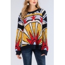 Winter's Vintage Colorblock Pattern Round Neck Long Sleeve Casual Cozy Yellow Sweater