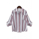 Women's Long Sleeve Lapel Collar Striped Print Loose Stylish Button Down Shirt