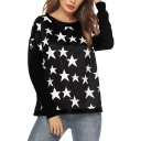 Star Printed Long Sleeve Round Neck Leisure Black Tee