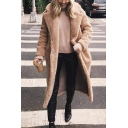 Winter's New Trendy Long Sleeve Plain Lapel Collar Single Breasted Longline Coat