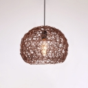 Dome Shade Suspended Lamp Industrial Rattan Pendant Light for Exhibition Hall Corridor