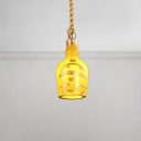 Single Light Bottle Pendant Lamp Industrial Burlap Drop Light in Yellow for Bar Counter