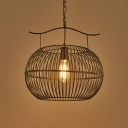 Industrial Loft Style Caged Ceiling Pendant Light Metal 1 Light Globe Hanging Fixture in Black