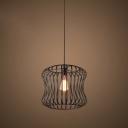 Industrial Bucket Shaped Hanging Pendant Light Wrought Iron 1 Light Drop Light in Black